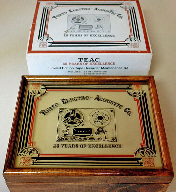 Teac glass & wood Limited Edition box that Teac created to celebrate their 25th anniversary in 1988.  The box and all the accessories are in the Phantom productions' vintage recording collection.