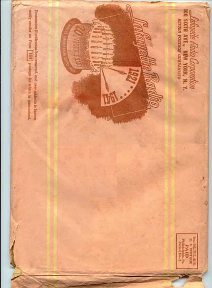 picture of mailer envelop used by Lafayette to mail their 20th anniversary issue