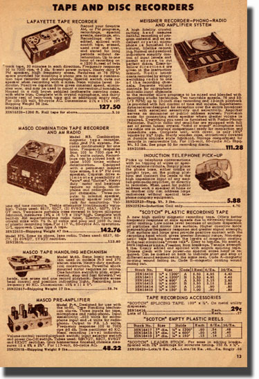 picture of recorders for sale in 1950 Lafayette catalog