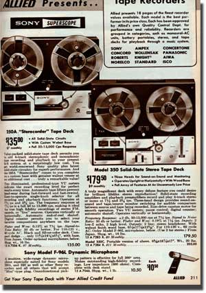 picture of Sony 250 and 350 tape recorders