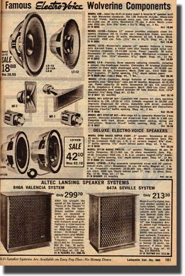picture of speakers for sale in the 1968 Lafayette Radio catalog