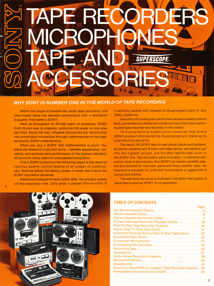 1975 Sony brochure in the Reel2ReelTexas.com's vintage recording collection featuring their reel to reel tape recorders, microphones and mixers