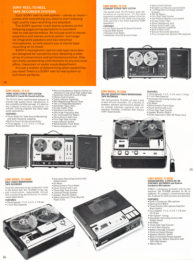 1975 Sony brochure in the Reel2ReelTexas.com's vintage recording collection featuring their reel to reel tape recorders including the TC-279, TC-570, TC-105A, TC-106AW and the TC-800B prtables.