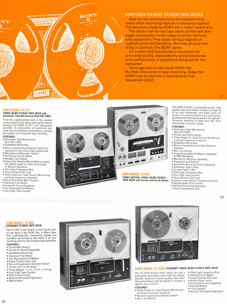 1975 Sony brochure in the Reel2ReelTexas.com's vintage recording collection featuring their reel to reel tape recorders including the TC-377, TC-645, TC-280 and the TC-353