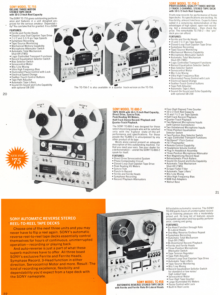 1975 Sony brochure in the Reel2ReelTexas.com's vintage recording collection featuring their reel to reel tape recorders including the TC-755, TC-756-2, TC-880-2 and the TC-458