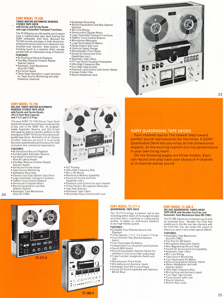 1975 Sony brochure in the Reel2ReelTexas.com's vintage recording collection featuring their reel to reel tape recorders including the TC-558, TC-758, TC-277-4 and the TC-388-4