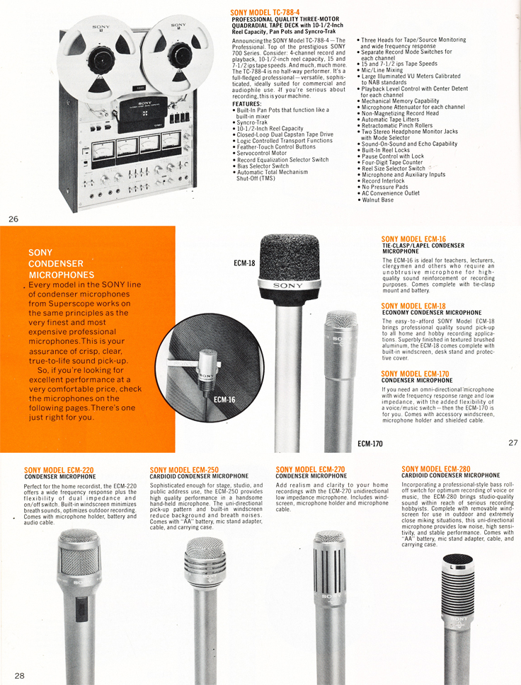 1975 Sony brochure in the Reel2ReelTexas.com's vintage recording collection featuring their reel to reel tape recorders including the TC-788-4