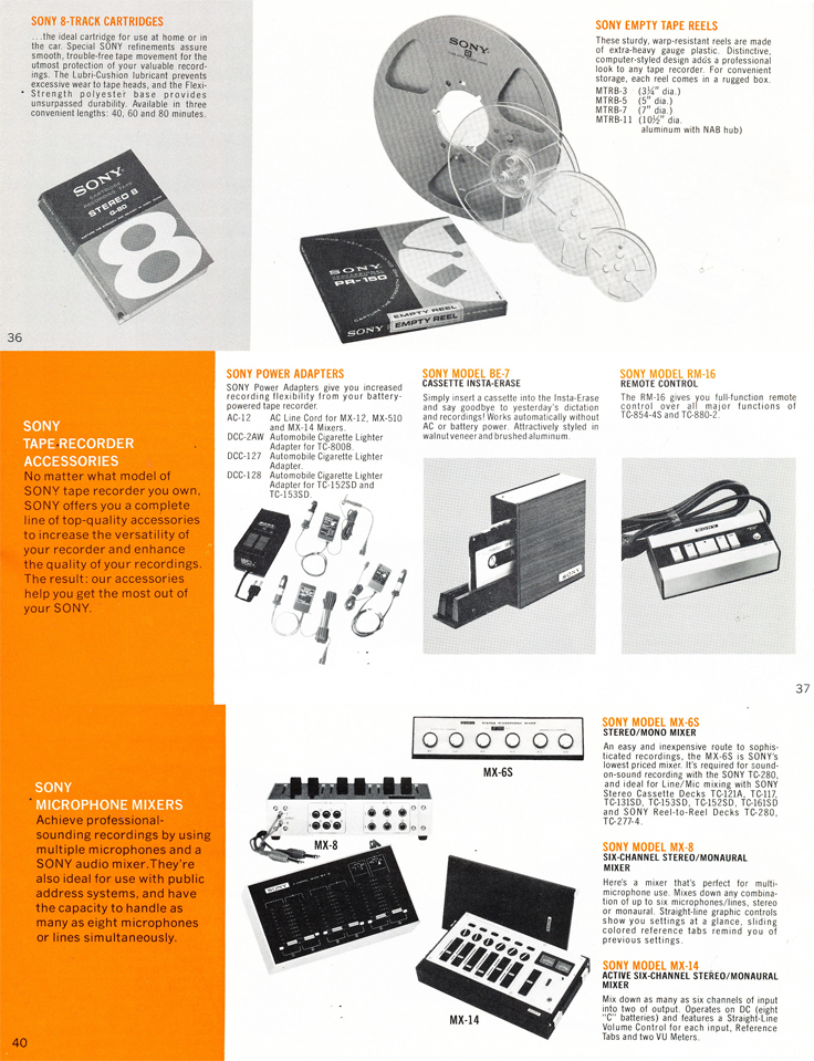 1975 Sony brochure in the Reel2ReelTexas.com's vintage recording collection featuring their reel to reel tape recorders, microphones, accessories  and mixers