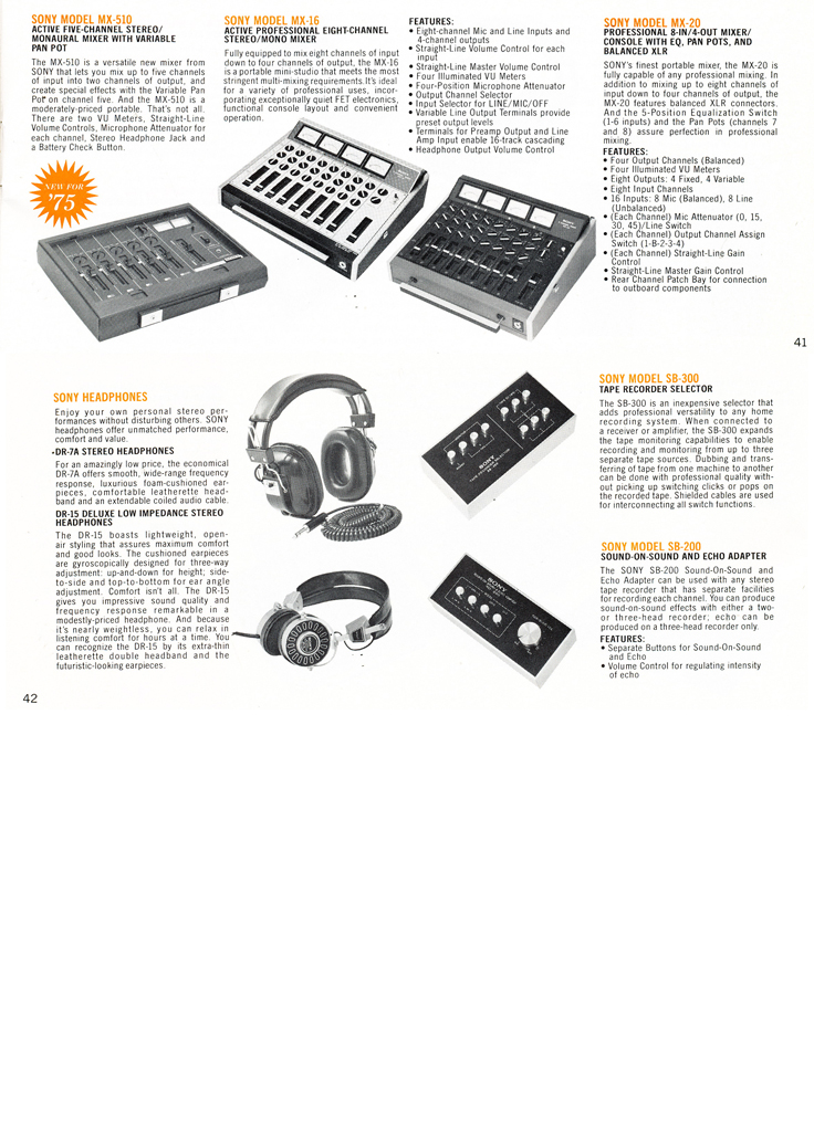 1975 Sony brochure in the Reel2ReelTexas.com's vintage recording collection featuring their reel to reel tape recorders, microphones, accessories and mixers including the MX-510, the Mx-16, MX-20 and the SB-300