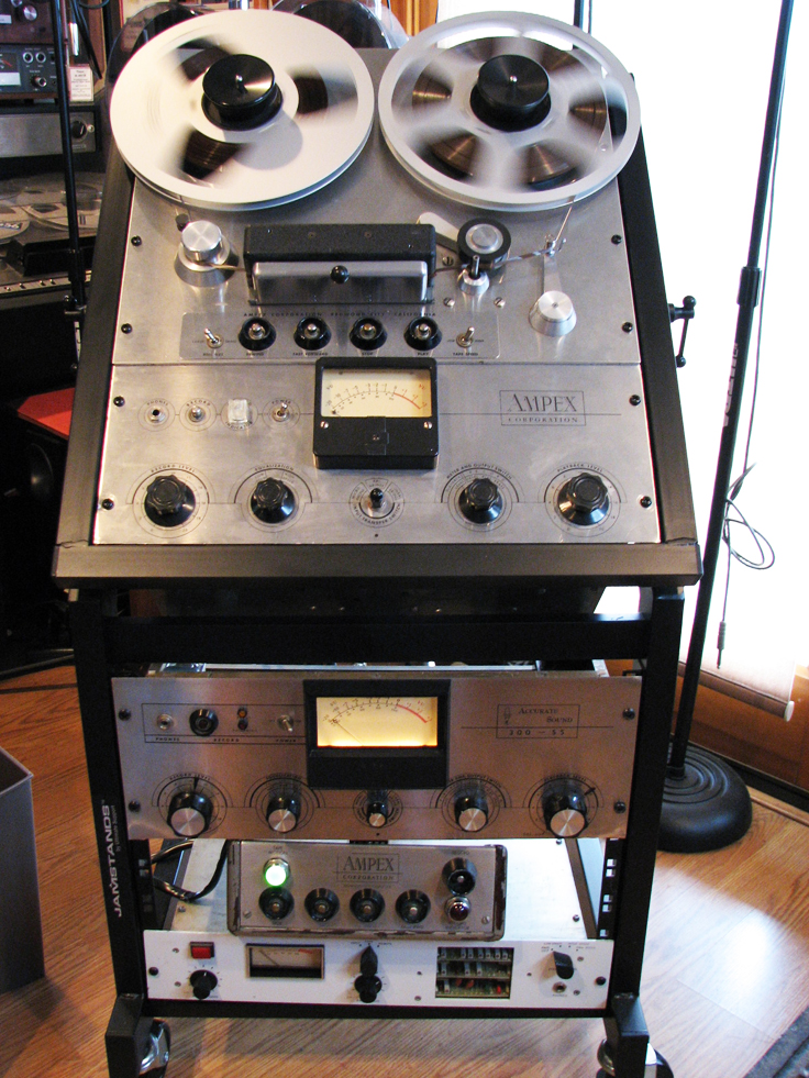 Ampex 351 which was restored by Phantom Productions and includes the original Ampex 351 amplifier, an Accurate Sound 300 SS amplifier and an Inovonics solid stae amplifier all available to the Ampex 351 transport in the Reel2ReelTexas.com's vintage recording collection