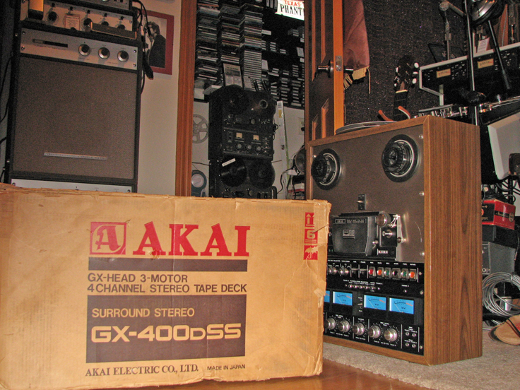 Akai GX-400D-SS 4 channel professional reel to reel tape recorder with its original box  in Reel2ReelTexas.com's vintage recording collection