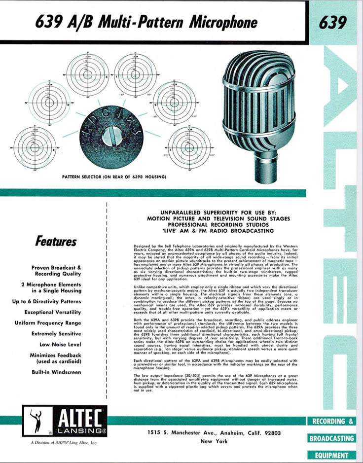 Altec 639A microphone ispecification fact sheet in the Reel2ReelTexas.com / Museum of Magnetic Sound Recording vintage microphone and recording equipment collection