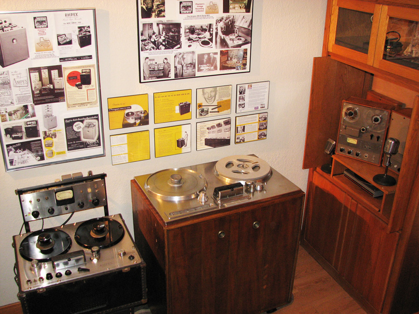 Phantom Productions, Inc.'s Ampex 200-A, Ampex 300 and Ampex 601 on display at the Phantom studio