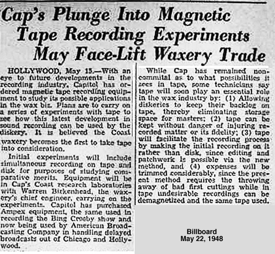 May 22, 1948 Billboard article describing Capitol Records decision to go with Ampex magnetic reel to reel tape recordes.