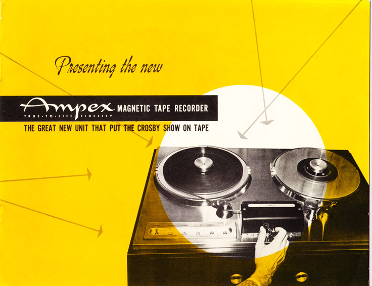 Page 1 of the 1947-1948 Ampex 200 professional reel to reel tape recorder brochure in   Reel2ReelTexas.com's vintage recording collection