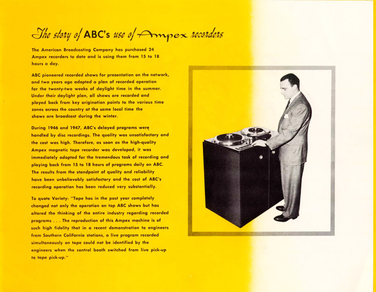 Page 5 of the 1947-1948 Ampex 200 professional reel to reel tape recorder brochure in   Reel2ReelTexas.com's vintage recording collection