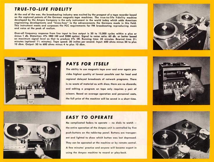 Page 6 of the 1947-1948 Ampex 200 professional reel to reel tape recorder brochure in   Reel2ReelTexas.com's vintage recording collection