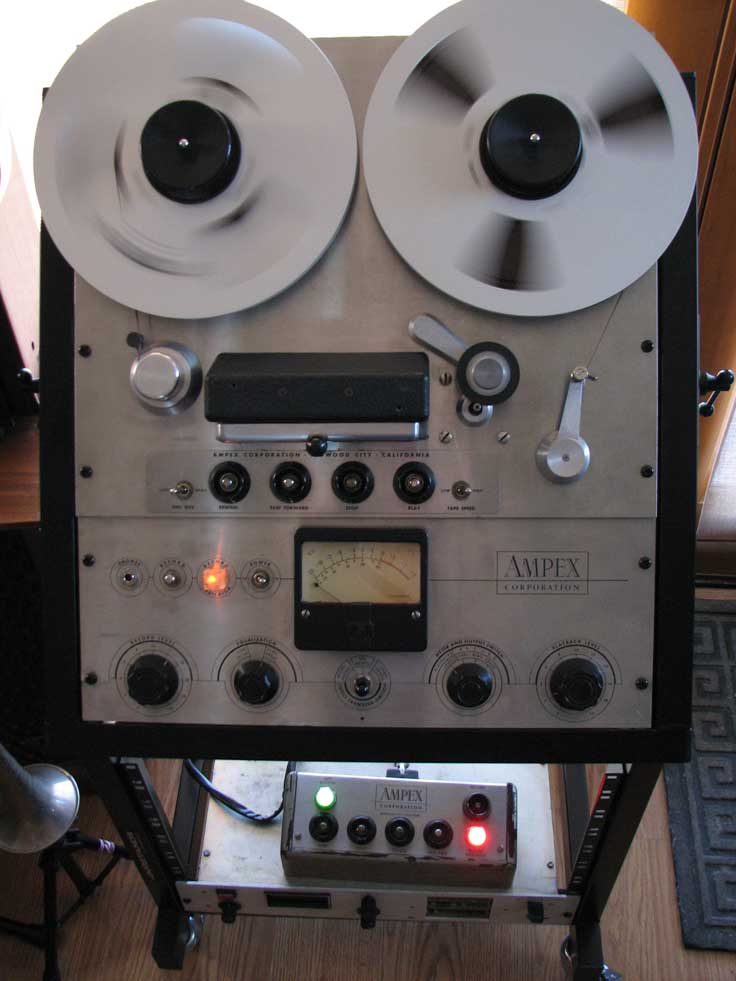 Ampex 351 professional reel tape recorder restored and displayed in the Reel2ReelTexas.com's vintage recording collection