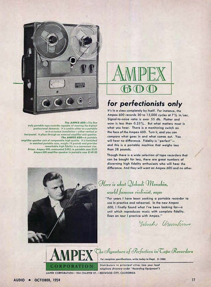 1954 ad for the Ampex 600 reel tape recorder in the Reel2ReelTexas.com collection