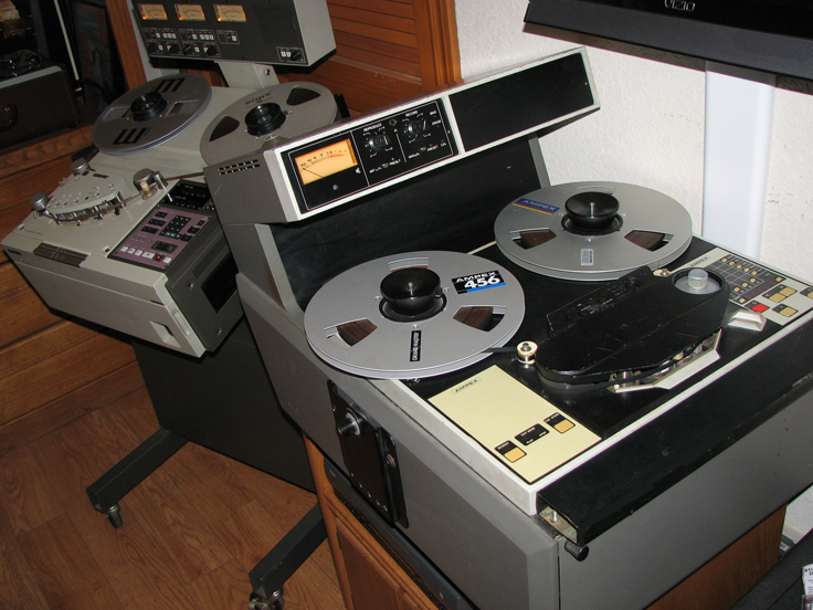 Sony APR 5003 and Ampex ATR 100 professional reel to reel tape recorders in Reel2ReelTexas.com's vintage recording collection