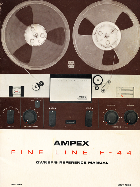 1963 Ampex manual cover for the Ampex F-44 Fine Line reel to reel tape recorder in Phantom Productions' vintage tape recording collection