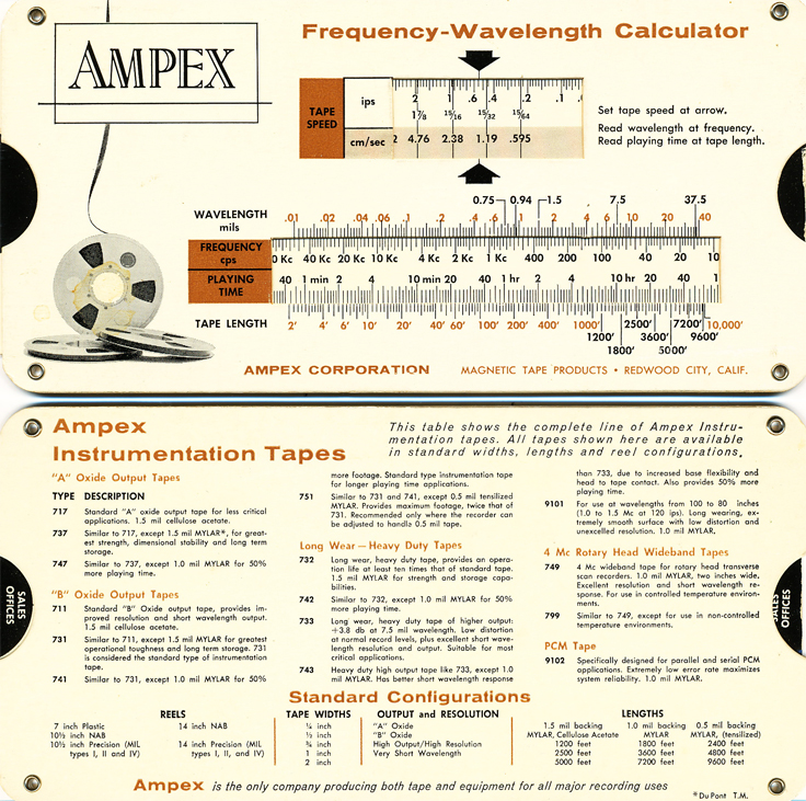 Ampex Instrumentation Frequency Wavelength Calculator