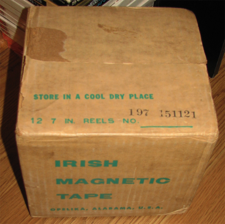"Unopened box of 12 7"" reel Irish reel to reel tape in the Reel2ReelTexas.com's vintage recording collection"