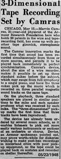 Marvin Camras mentioned in 1948 Billboard article