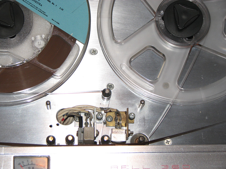 Bell RT 360 reel to reel tape recorder showing tape path to record a dub of another tape in Reel2ReelTexas.com's vintage recording collection