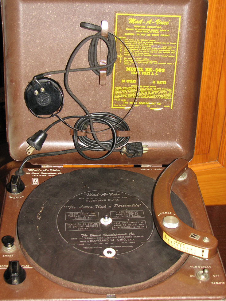 1946 Brush Mail-A-Voice magnetic recorder which mechanically works like a record player, however the phono head magnetically records onto a paper mailable disc.  this unit is in the Phantom productions' vintage recording collection