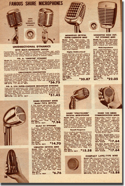 picture of page from 1949 Allied radio catalog showing microphones for sale