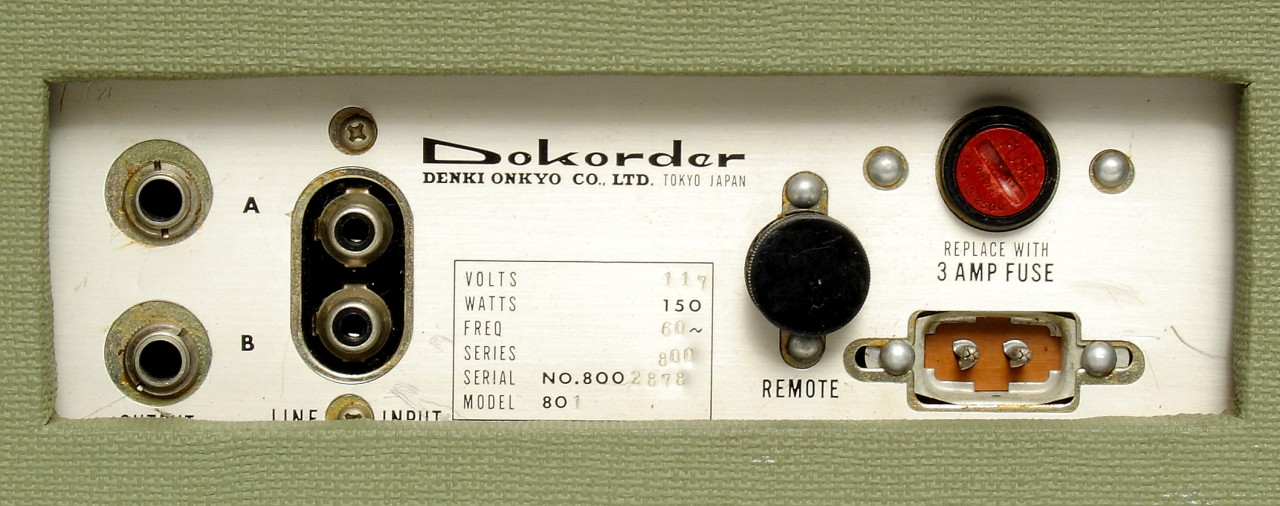 Concertone 801 reel tape recorder re-branded by Dokorder as the Dokorder Reverse-O-Matic 801