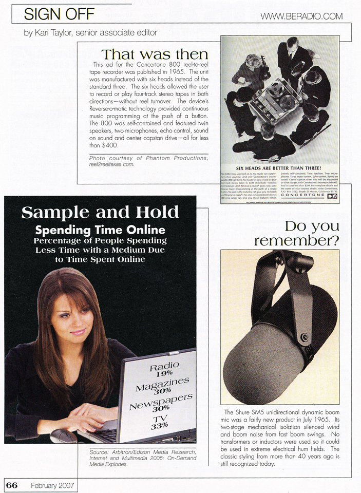 February 2007 issue of Radio magazine which used Phantom Productions' Six head Concertone ad from our vintage recording collection