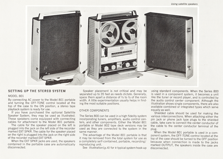 Concertone 800 with speakers from brochure in Reel2ReelTexas.com's vintage reel tape recorder collection