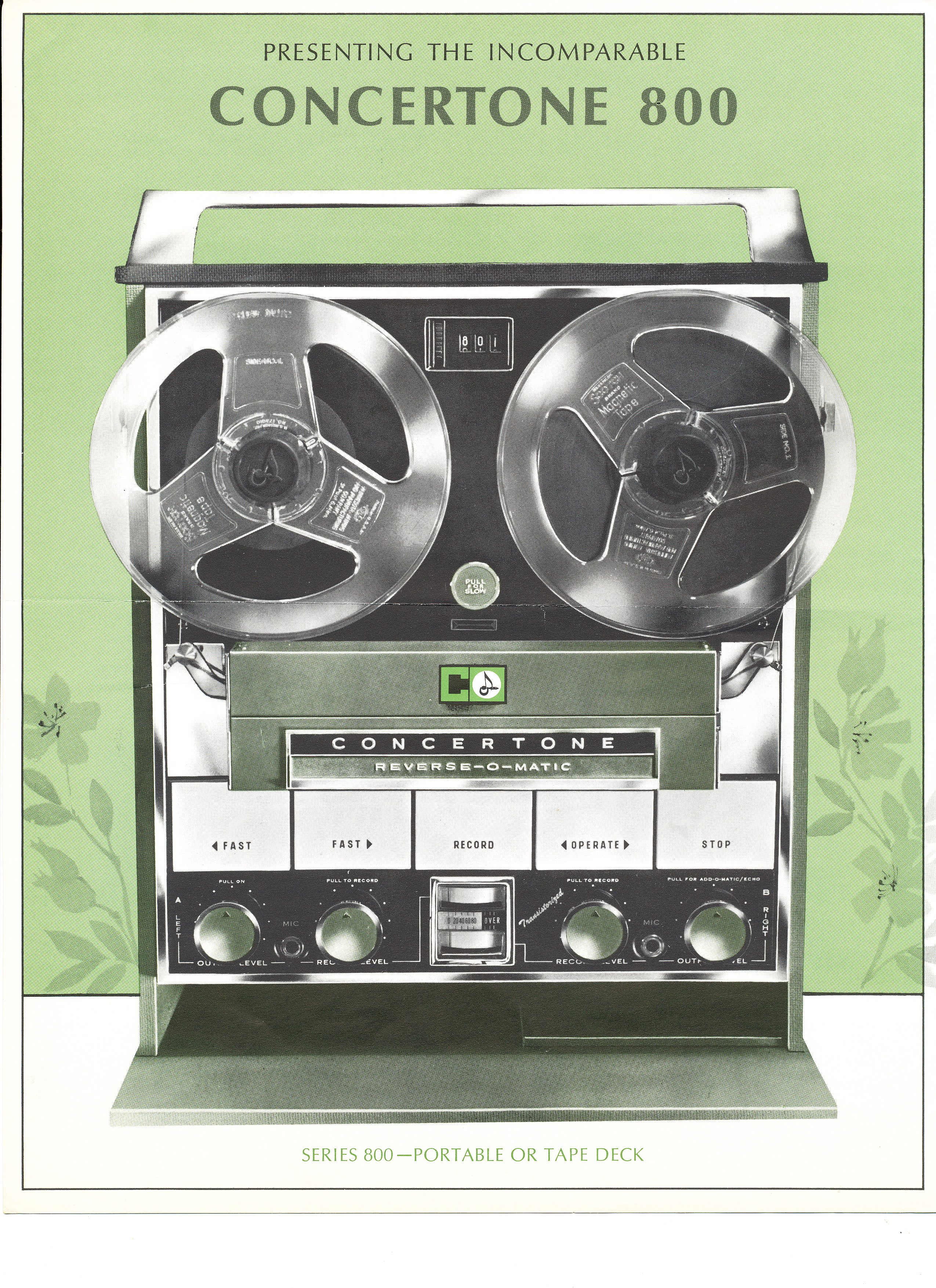 1964 ad for the Concertone (Teac) 800 open reel tape recorder in the Museum of magnetic Sound Recording