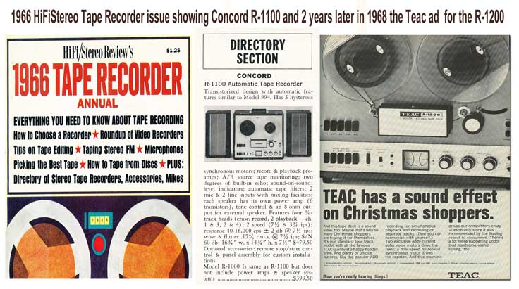 1966 listing of the Concord R-1100 in HiFiStereo tape recorder issue and same recorder released as the Teac R-1200 in a 1968 ad in Reel2ReelTexas.com's vintage recording collection