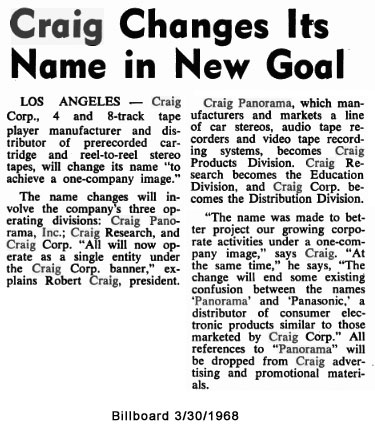 Craig changes name - Billboard 1968