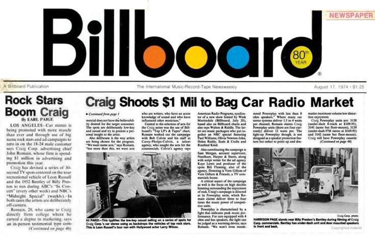 1974 Billboard featuring Craig Corp's $1 million ad shoot