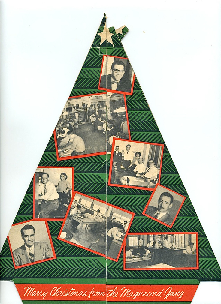 Christmas tree card sent out by Magnecord reel tape recorder company