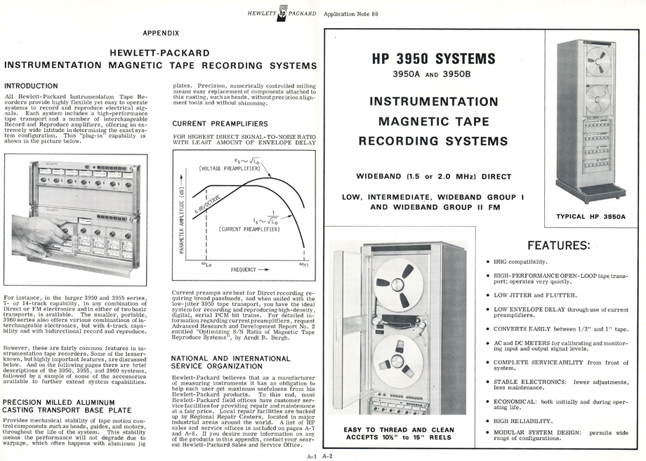 1970 Hewlett Packard instrumentation recorders and information about Magnetic tape recording in the Reel2ReelTexas.com's vintage recording collection