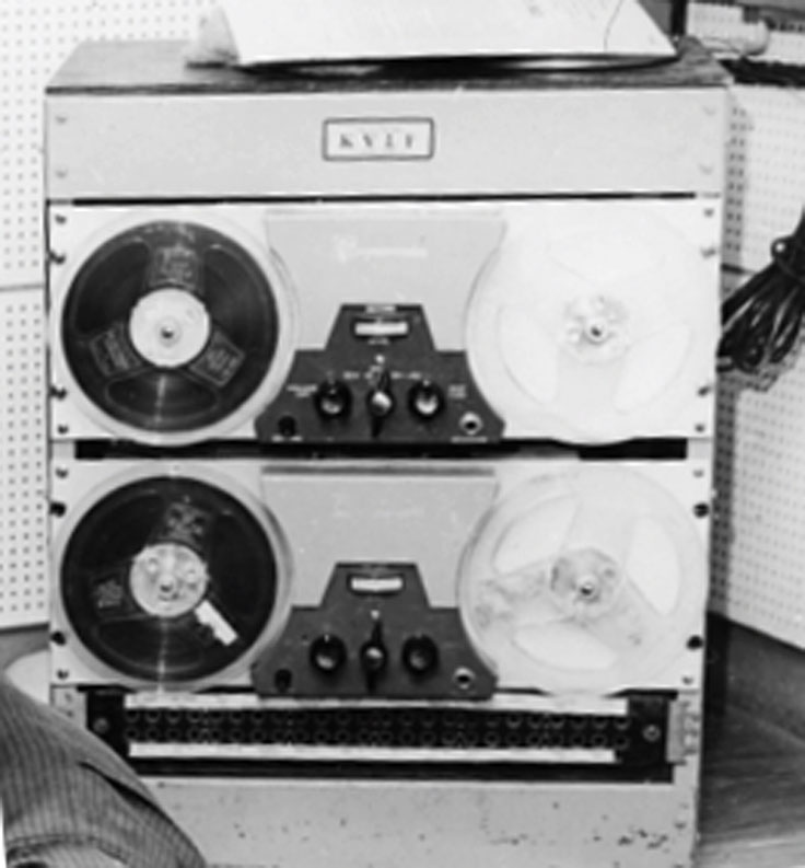Magbecord S-36B reel to reel tape recorders in the KVLF radio station, Alpine, Texas - 1960's.