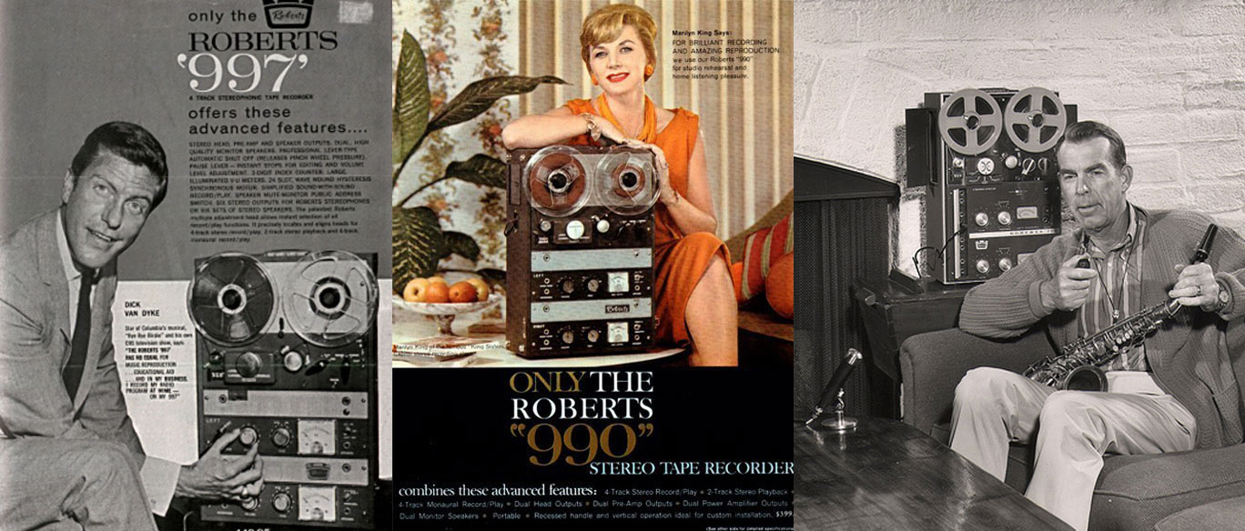 Dick Van Dyke, Marilyn King and Fred MacMurray endorsing Roberts Recorders in the Museum of Magnetic Sound Recording