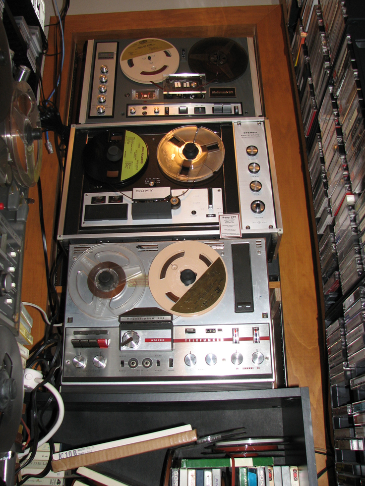 Wollensak 6250, Sony 260 and the Telefunken 204 reel tape recorders in   Phantom Productions' vintage recording museum