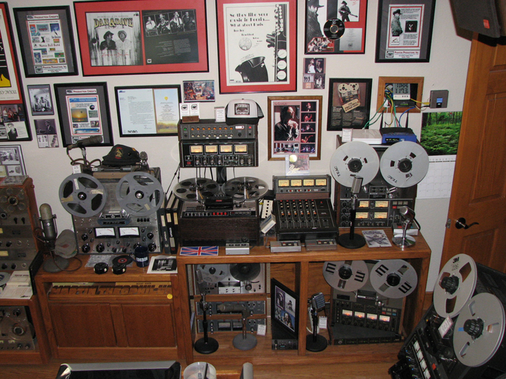 Museum North wall in Phantom Producrions' vintage recording collection