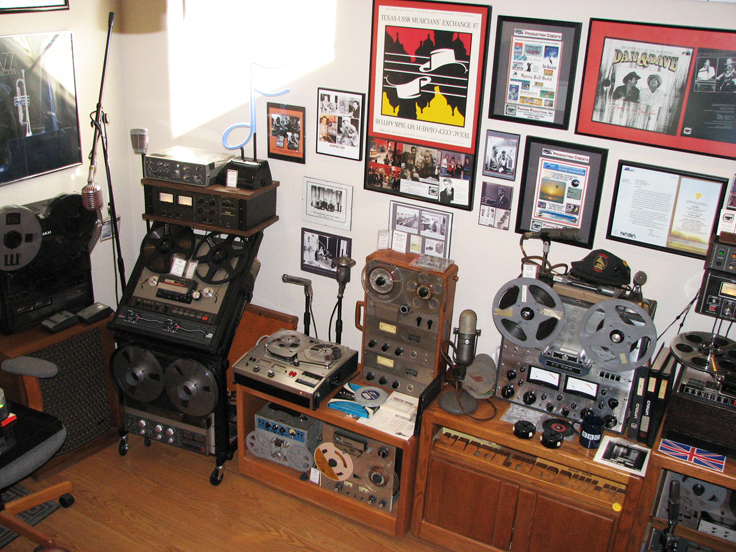 Vintage collection display area in   Phantom Productions' vintage recording collection