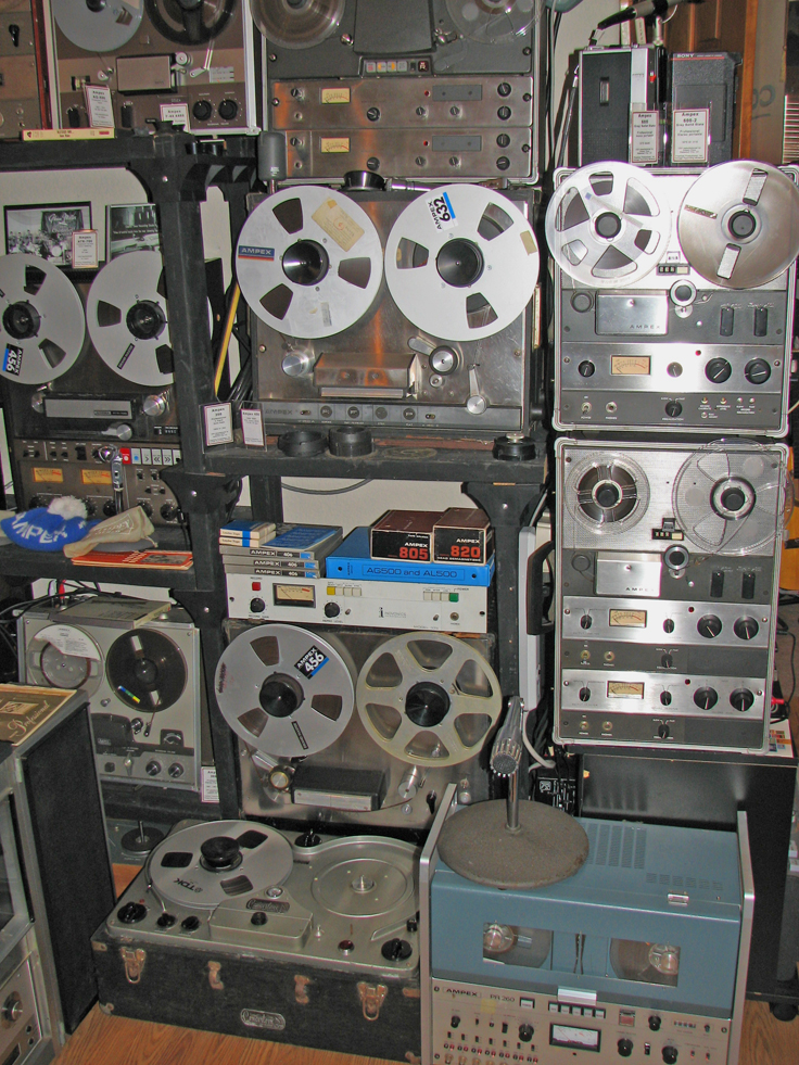 Ampex wall with Concertone 1401  reel to reel tape recorders  in the Reel2ReelTexas.com's vintage recording collection