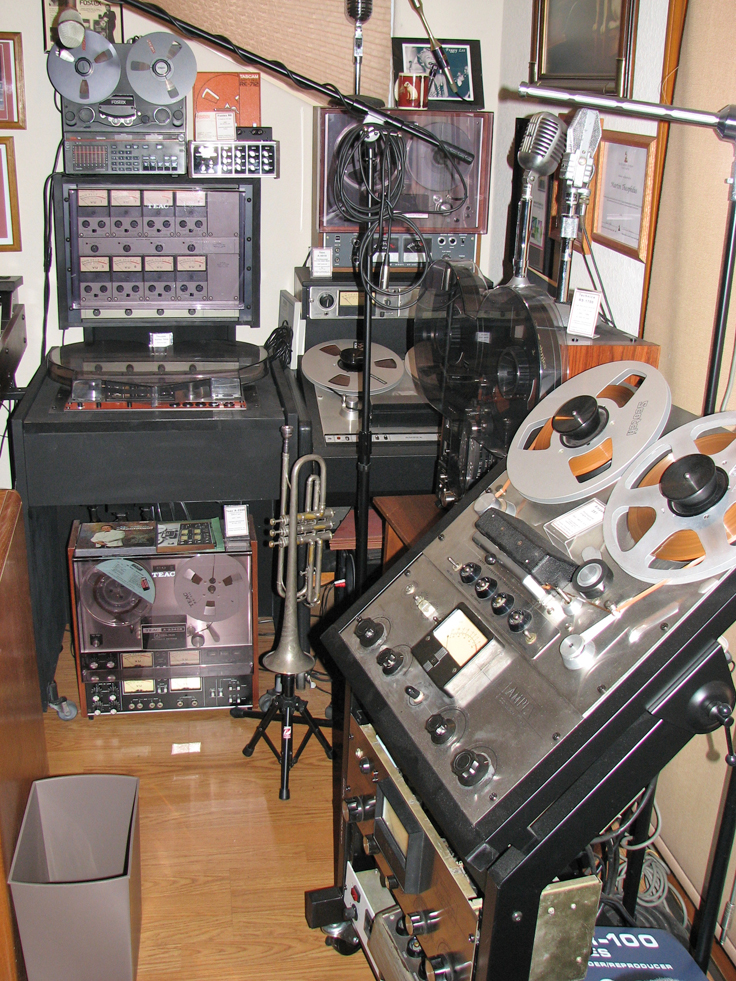 West studio wall showing Ampex, , Fostex and Teac/Tascam reel to reel tape recorders in the Reel2ReelTexas.com's vintage recording collection
