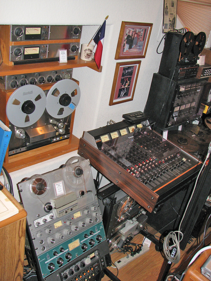 South studio wall showing Ampex, Magnecord, Teac and Fostex reel to reel tape recorders, plus the Altec 1592 mixer amplifier, the RCA mixer and Sony/Shure mixer in the Reel2ReelTexas.com's vintage recording collection