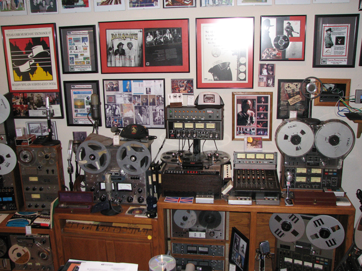 North studio wall showing Ampex, Crown, Dokorder Teac and Viking reel to reel tape recorders in the Reel2ReelTexas.com's vintage recording collection