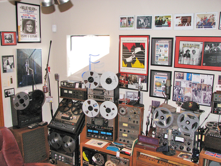 North studio wall showing Akai,Ampex, Crown, Pioneer, Studer/ReVox Teac and Sony reel to reel tape recorders in the Reel2ReelTexas.com's vintage recording collection